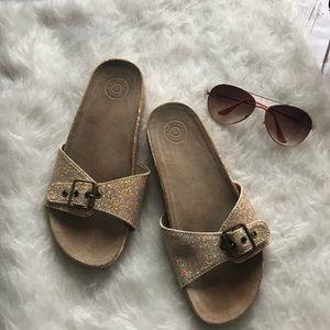 GAP gold glitter sandal slip on slides